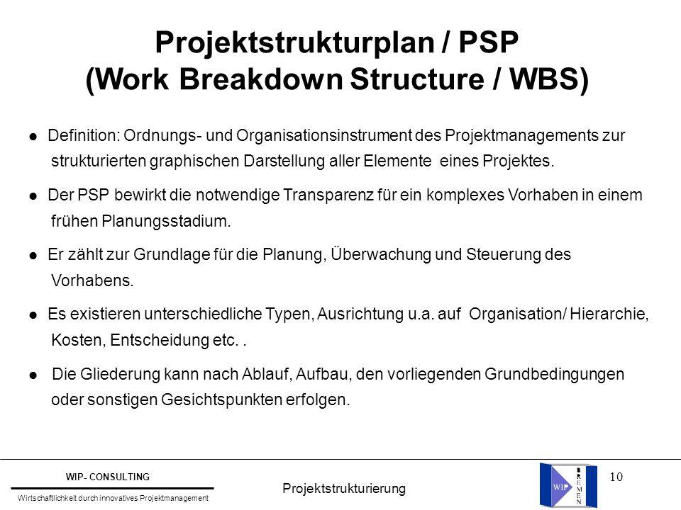 10 l Definition: Ordnungs- und Organisationsinstrument des Projektmanagements zur strukturierten graphischen Darstellung aller Elemente eines Projekte
