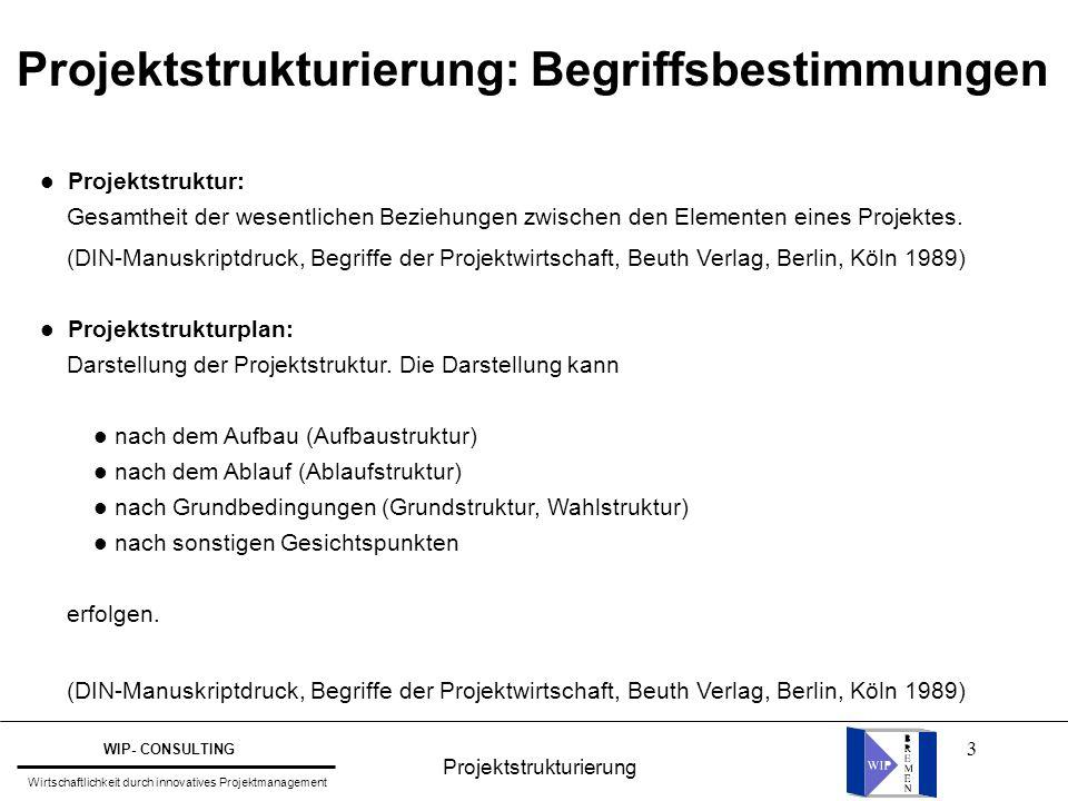 3 l Projektstruktur: Gesamtheit der wesentlichen Beziehungen zwischen den Elementen eines Projektes. (DIN-Manuskriptdruck, Begriffe der Projektwirtsch