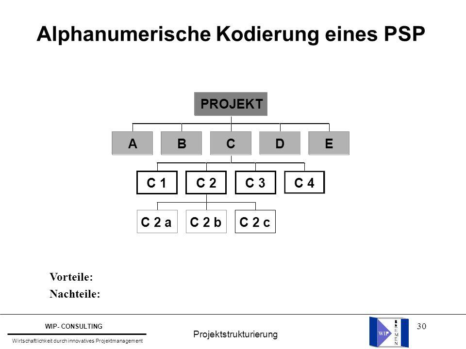 30 Alphanumerische Kodierung eines PSP Vorteile: Nachteile: Projektstrukturierung WIP- CONSULTING Wirtschaftlichkeit durch innovatives Projektmanageme