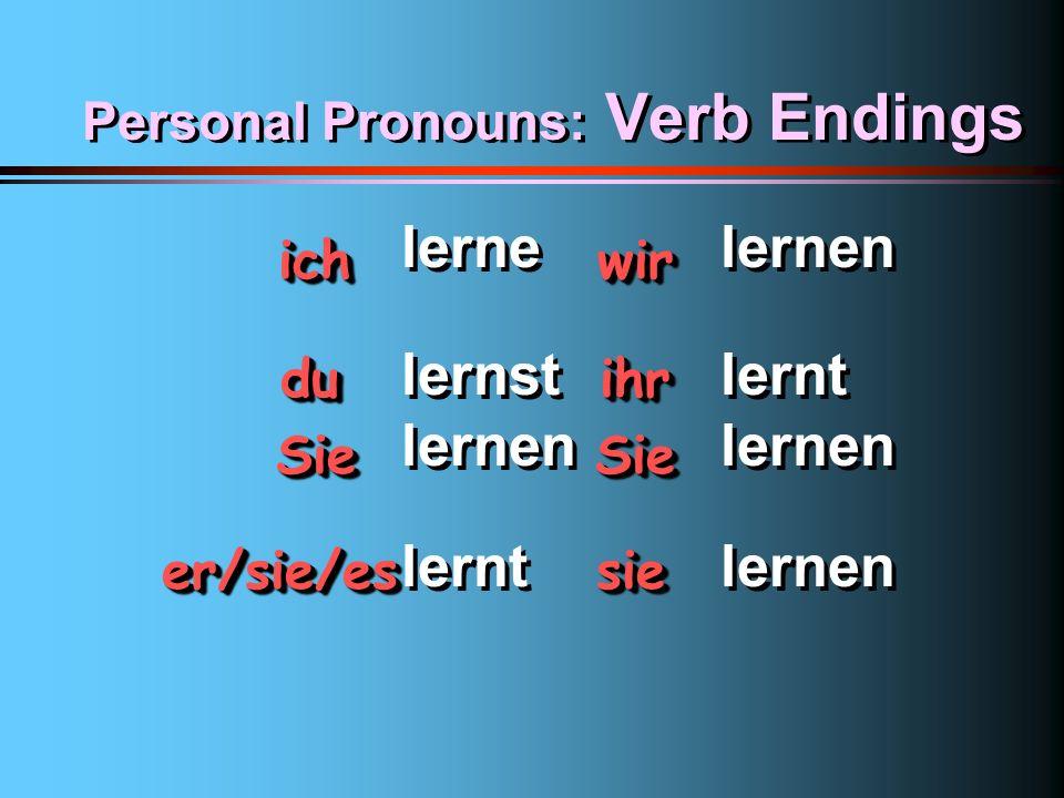 Personal Pronouns: Verb Endings 1st pers. 2nd pers. 3rd pers. ichwir duihr SieSie er/sie/es sie ichwir duihr SieSie er/sie/es sie ~e~en ~st~t ~en~en ~