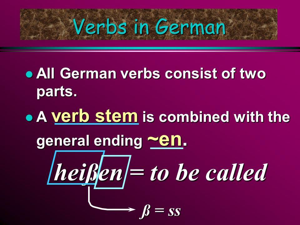 Verbs in German l All German verbs consist of two parts.