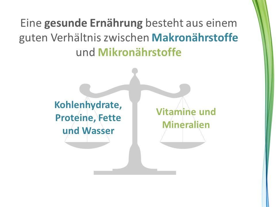 Eine gesunde Ernährung besteht aus einem guten Verhältnis zwischen Makronährstoffe und Mikronährstoffe Kohlenhydrate, Proteine, Fette und Wasser Vitam