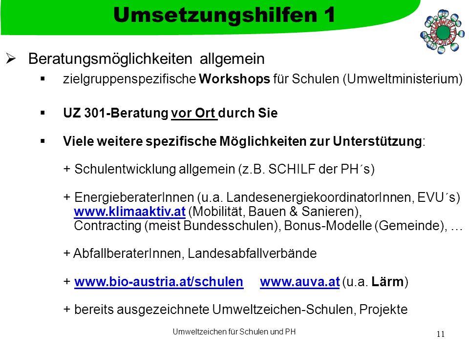 Umweltzeichen für Schulen und PH 11  Beratungsmöglichkeiten allgemein  zielgruppenspezifische Workshops für Schulen (Umweltministerium)  UZ 301-Ber
