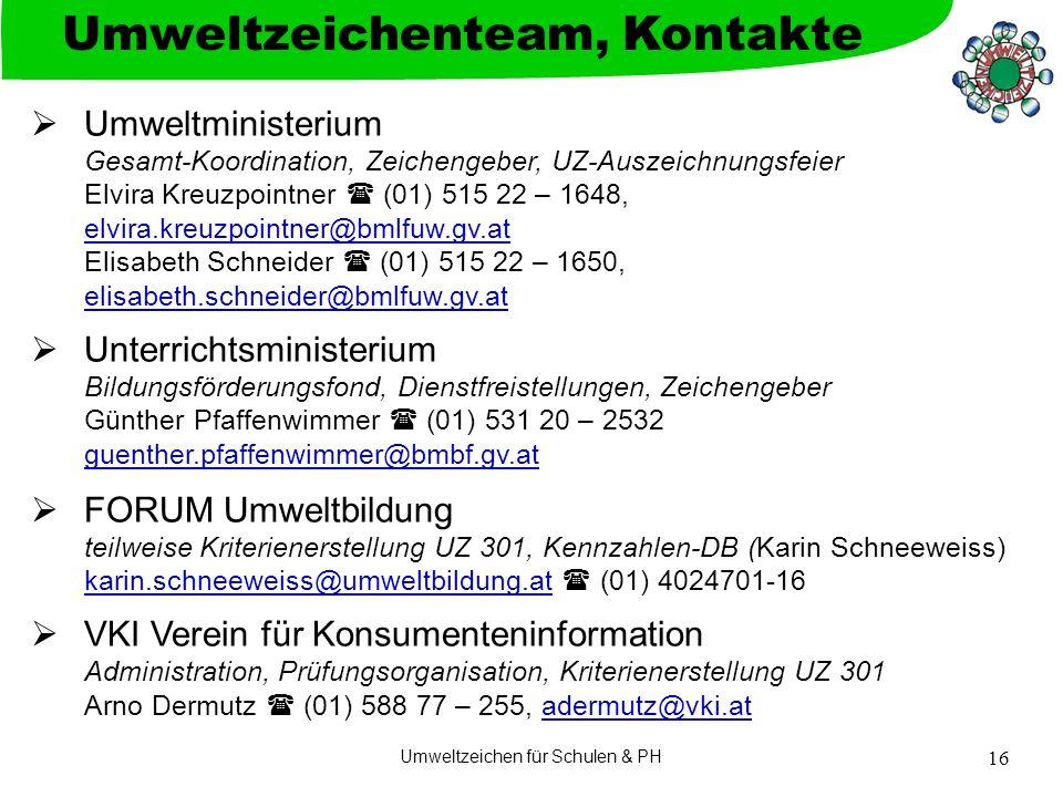 Umweltzeichen für Schulen & PH 16  Umweltministerium Gesamt-Koordination, Zeichengeber, UZ-Auszeichnungsfeier Elvira Kreuzpointner  (01) 515 22 – 16