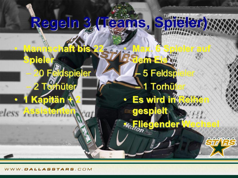 Regeln 3 (Teams, Spieler) Mannschaft bis 22 Spieler –2–2–2–20 Feldspieler –2–2–2–2 Torhüter 1 Kapitän + 2 Assistenten Max.