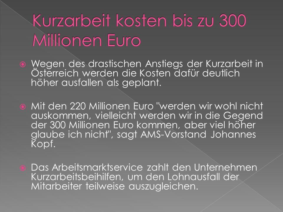  Wegen des drastischen Anstiegs der Kurzarbeit in Österreich werden die Kosten dafür deutlich höher ausfallen als geplant.