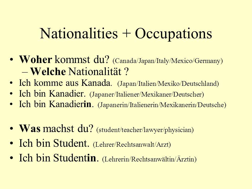 Nationalities + Occupations Woher kommst du.