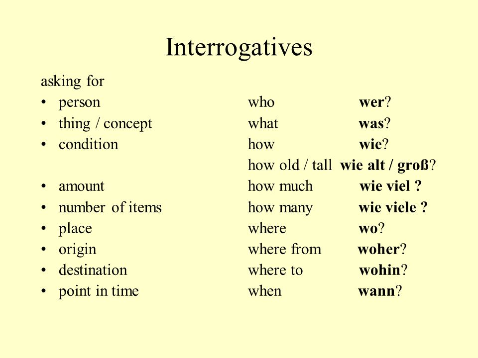 Interrogatives asking for person thing / concept condition amount number of items place origin destination point in time who wer? what was? how wie? h