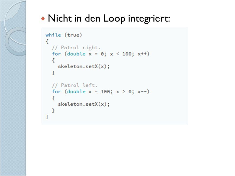 Nicht in den Loop integriert:
