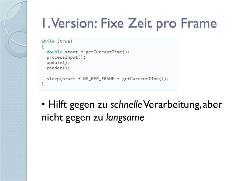 1. Version: Fixe Zeit pro Frame Hilft gegen zu schnelle Verarbeitung, aber nicht gegen zu langsame