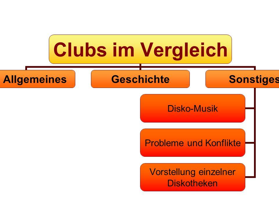 Allgemeines GeschichteSonstiges Disko-Musik Probleme und Konflikte Vorstellung einzelner Diskotheken