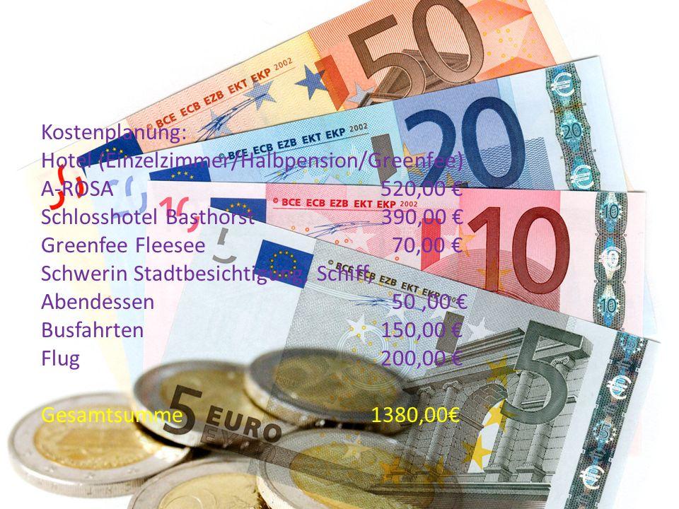 Kostenplanung: Hotel (Einzelzimmer/Halbpension/Greenfee) A-ROSA520,00 € Schlosshotel Basthorst 390,00 € Greenfee Fleesee 70,00 € Schwerin Stadtbesicht