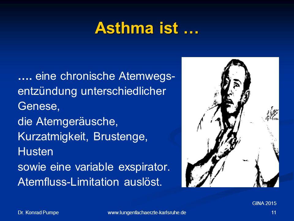 Dr. Konrad Pumpe 11www.lungenfachaerzte-karlsruhe.de Asthma ist … …. eine chronische Atemwegs- entzündung unterschiedlicher Genese, die Atemgeräusche,