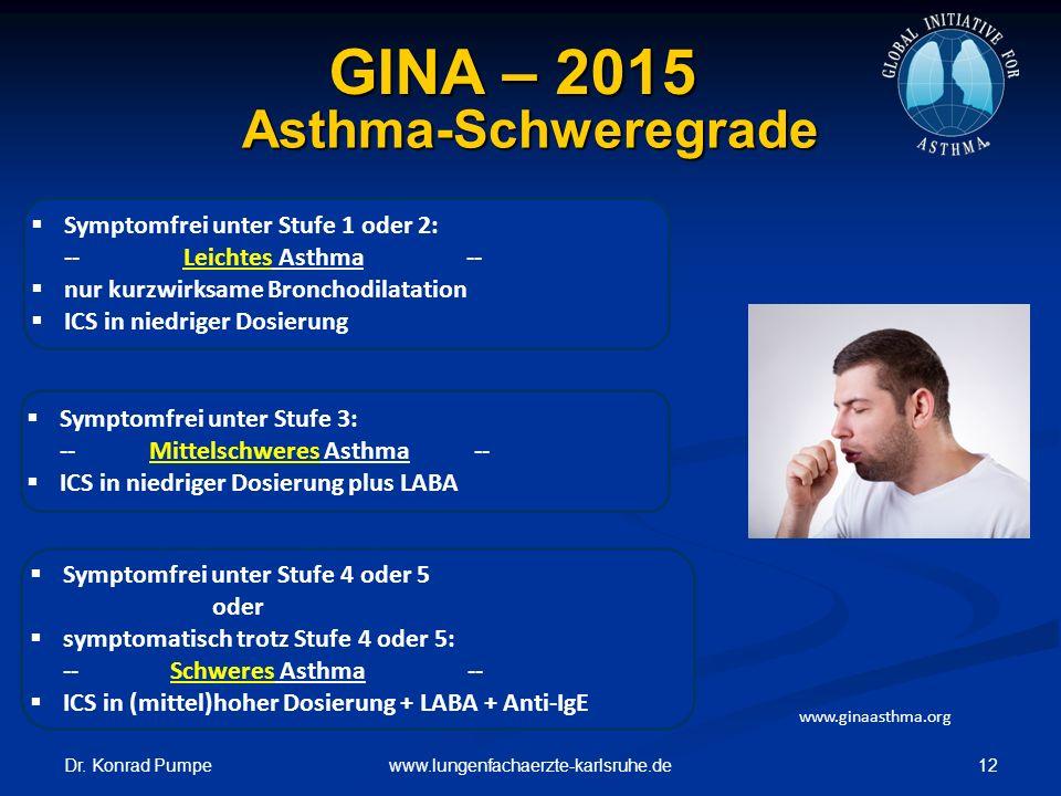 Dr. Konrad Pumpe 12www.lungenfachaerzte-karlsruhe.de Asthma-Schweregrade  Symptomfrei unter Stufe 1 oder 2: -- Leichtes Asthma --  nur kurzwirksame