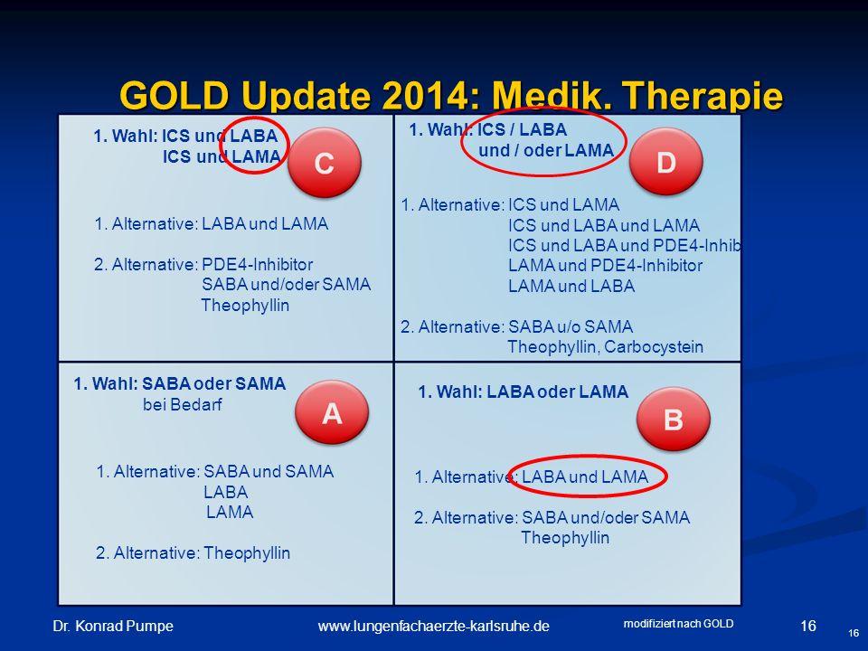 Dr. Konrad Pumpe 16www.lungenfachaerzte-karlsruhe.de GOLD Update 2014: Medik. Therapie GOLD Update 2014: Medik. Therapie 16 1. Wahl: ICS und LABA ICS