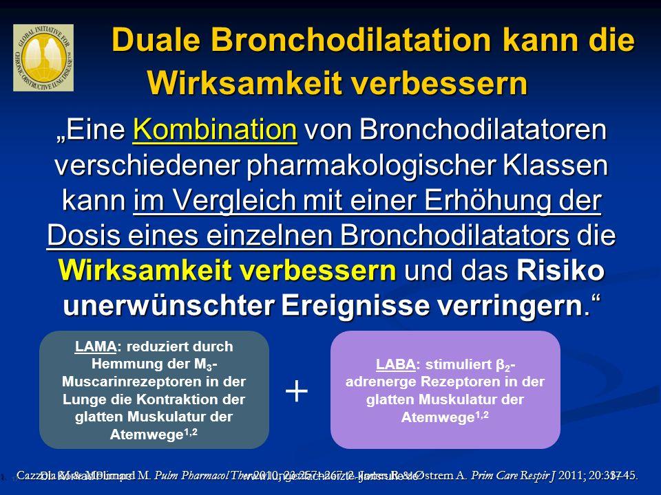 Dr. Konrad Pumpe 17www.lungenfachaerzte-karlsruhe.de Duale Bronchodilatation kann die Wirksamkeit verbessern Duale Bronchodilatation kann die Wirksamk