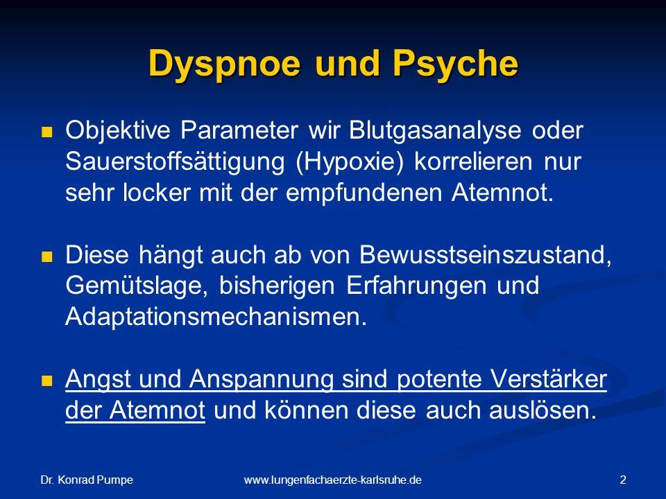 Dr. Konrad Pumpe 2www.lungenfachaerzte-karlsruhe.de Dyspnoe und Psyche Objektive Parameter wir Blutgasanalyse oder Sauerstoffsättigung (Hypoxie) korre