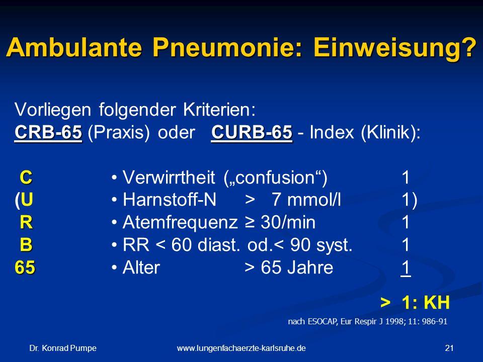 Dr. Konrad Pumpe 21www.lungenfachaerzte-karlsruhe.de Ambulante Pneumonie: Einweisung? Vorliegen folgender Kriterien: CRB-65CURB-65 CRB-65 (Praxis) ode