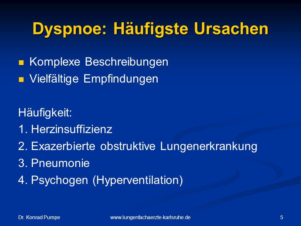 Dr. Konrad Pumpe 5www.lungenfachaerzte-karlsruhe.de Dyspnoe: Häufigste Ursachen Komplexe Beschreibungen Vielfältige Empfindungen Häufigkeit: 1. Herzin