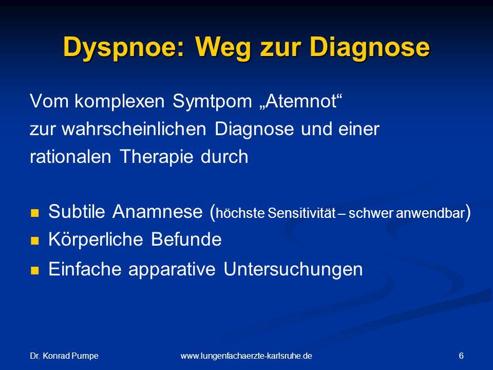 """Dr. Konrad Pumpe 6www.lungenfachaerzte-karlsruhe.de Dyspnoe: Weg zur Diagnose Vom komplexen Symtpom """"Atemnot"""" zur wahrscheinlichen Diagnose und einer"""