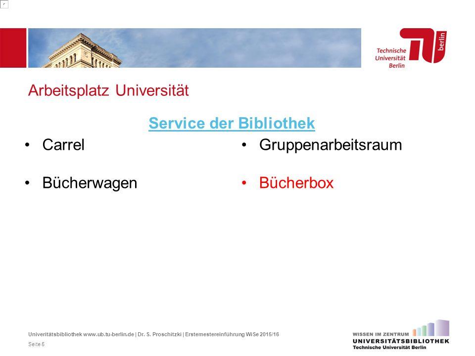 Arbeitsplatz Universität Carrel Bücherwagen Service der Bibliothek Gruppenarbeitsraum Bücherbox Univeritätsbibliothek www.ub.tu-berlin.de | Dr. S. Pro