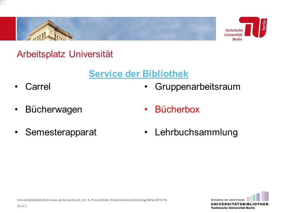 Arbeitsplatz Universität Carrel Bücherwagen Semesterapparat Service der Bibliothek Gruppenarbeitsraum Bücherbox Lehrbuchsammlung Univeritätsbibliothek