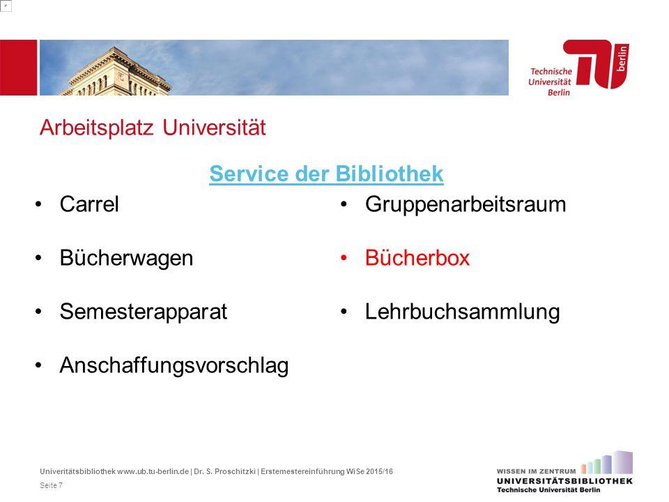 Arbeitsplatz Universität Carrel Bücherwagen Semesterapparat Anschaffungsvorschlag Service der Bibliothek Gruppenarbeitsraum Bücherbox Lehrbuchsammlung