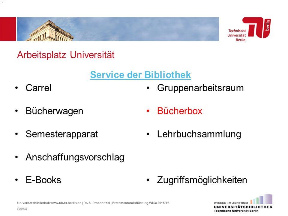 Arbeitsplatz Universität Carrel Bücherwagen Semesterapparat Anschaffungsvorschlag E-Books Service der Bibliothek Gruppenarbeitsraum Bücherbox Lehrbuch