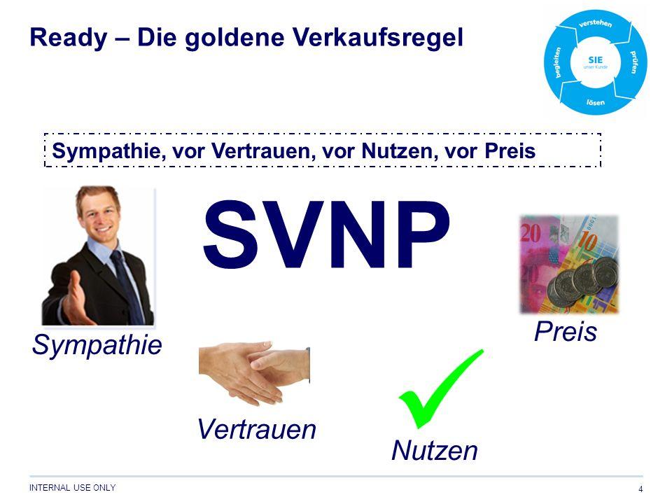 INTERNAL USE ONLY 4 SVNP Ready – Die goldene Verkaufsregel Sympathie Vertrauen Nutzen Preis Sympathie, vor Vertrauen, vor Nutzen, vor Preis