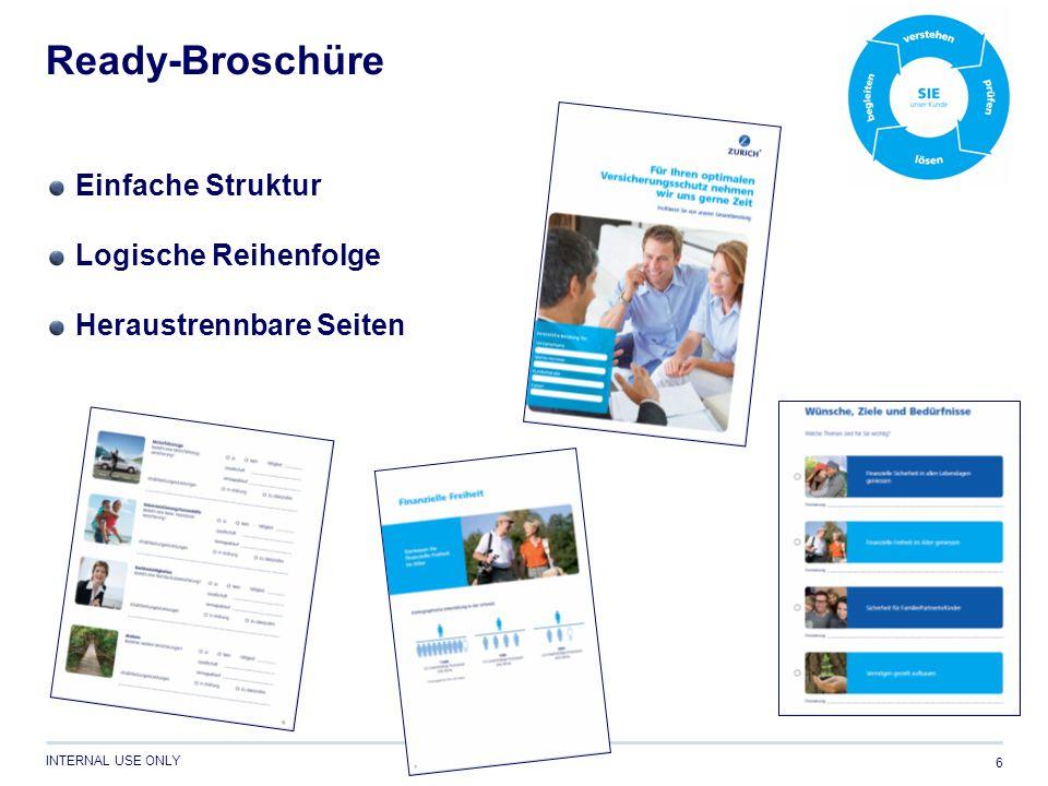 INTERNAL USE ONLY Ready-Broschüre 6 Einfache Struktur Logische Reihenfolge Heraustrennbare Seiten