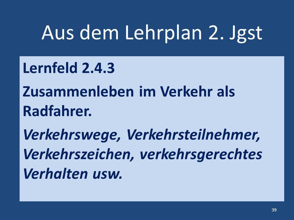 Aus dem Lehrplan 2. Jgst Lernfeld 2.4.3 Zusammenleben im Verkehr als Radfahrer.