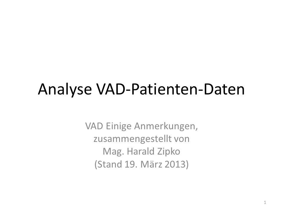 Analyse VAD-Patienten-Daten VAD Einige Anmerkungen, zusammengestellt von Mag.