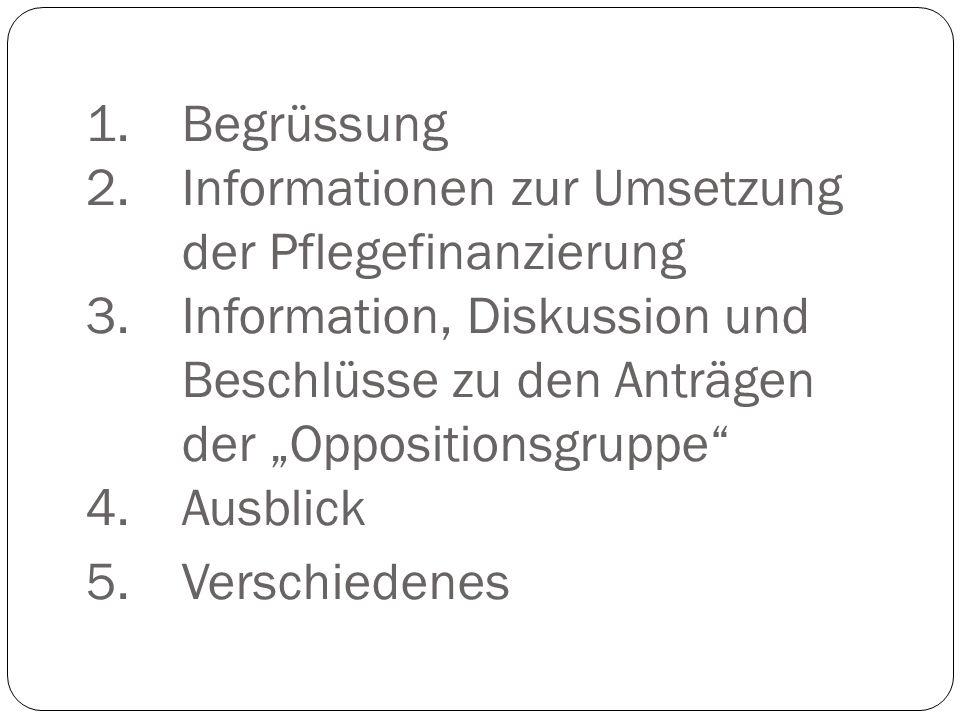 """1.Begrüssung 2.Informationen zur Umsetzung der Pflegefinanzierung 3.Information, Diskussion und Beschlüsse zu den Anträgen der """"Oppositionsgruppe"""" 4.A"""