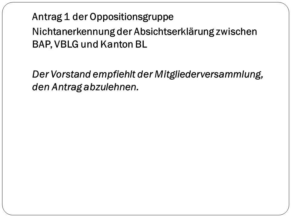 Antrag 1 der Oppositionsgruppe Nichtanerkennung der Absichtserklärung zwischen BAP, VBLG und Kanton BL Der Vorstand empfiehlt der Mitgliederversammlun
