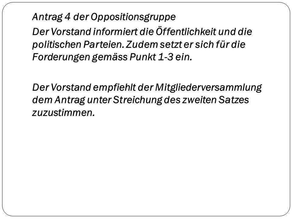 Antrag 4 der Oppositionsgruppe Der Vorstand informiert die Öffentlichkeit und die politischen Parteien. Zudem setzt er sich für die Forderungen gemäss