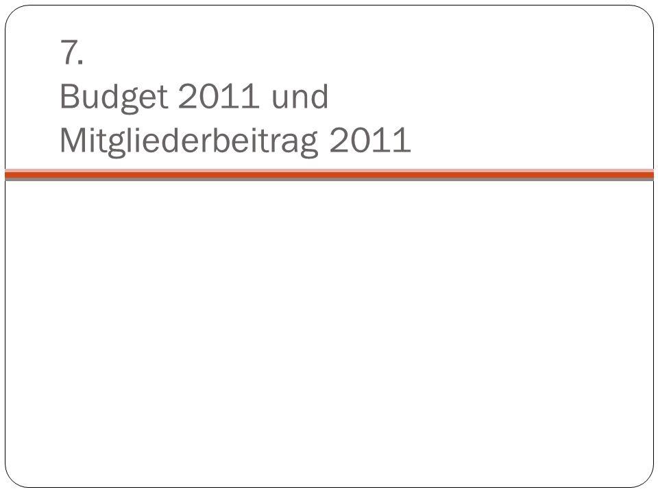 7. Budget 2011 und Mitgliederbeitrag 2011