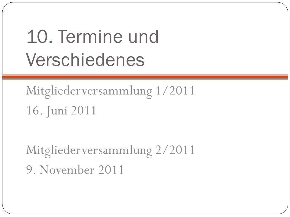 10. Termine und Verschiedenes Mitgliederversammlung 1/2011 16.