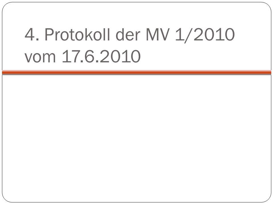 4. Protokoll der MV 1/2010 vom 17.6.2010