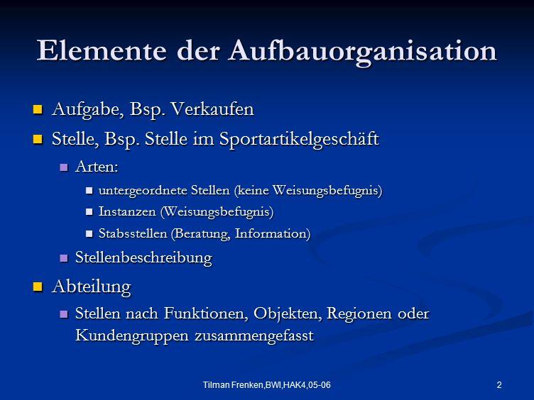 2 Elemente der Aufbauorganisation Aufgabe, Bsp. Verkaufen Aufgabe, Bsp. Verkaufen Stelle, Bsp. Stelle im Sportartikelgeschäft Stelle, Bsp. Stelle im S
