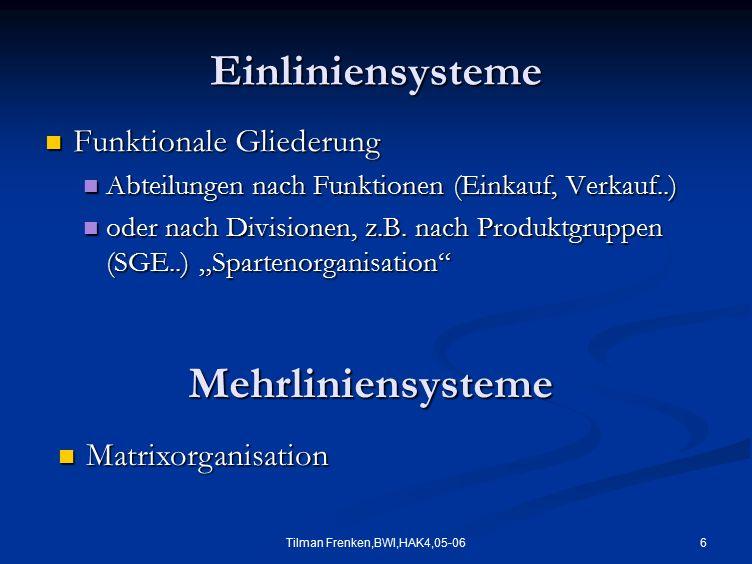 6Tilman Frenken,BWI,HAK4,05-06 Einliniensysteme Funktionale Gliederung Funktionale Gliederung Abteilungen nach Funktionen (Einkauf, Verkauf..) Abteilu