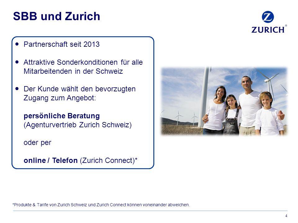 SBB und Zurich 4  Partnerschaft seit 2013  Attraktive Sonderkonditionen für alle Mitarbeitenden in der Schweiz  Der Kunde wählt den bevorzugten Zugang zum Angebot: persönliche Beratung (Agenturvertrieb Zurich Schweiz) oder per online / Telefon (Zurich Connect)* *Produkte & Tarife von Zurich Schweiz und Zurich Connect können voneinander abweichen.