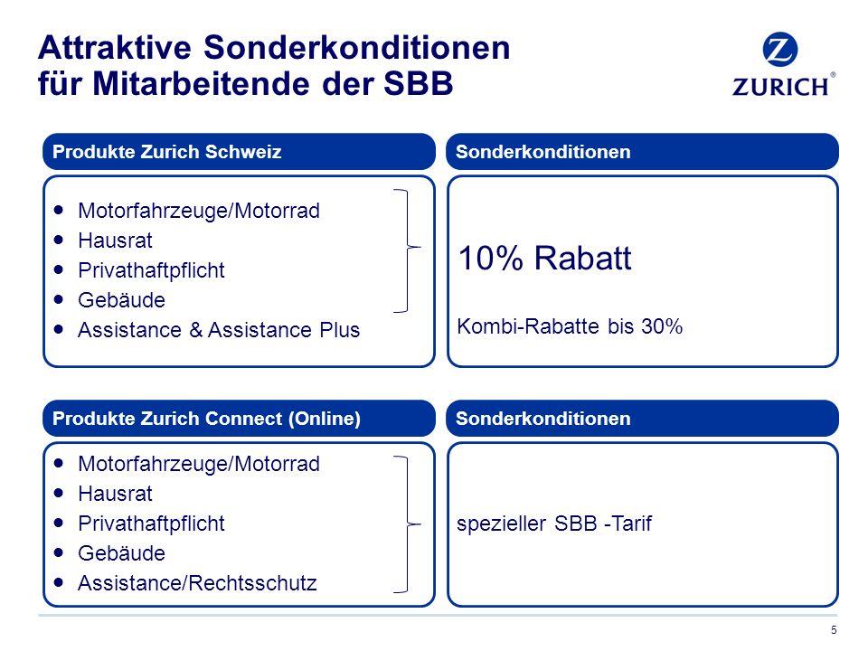 Attraktive Sonderkonditionen für Mitarbeitende der SBB 5  Motorfahrzeuge/Motorrad  Hausrat  Privathaftpflicht  Gebäude  Assistance & Assistance Plus 10% Rabatt Kombi-Rabatte bis 30% Produkte Zurich SchweizSonderkonditionen  Motorfahrzeuge/Motorrad  Hausrat  Privathaftpflicht  Gebäude  Assistance/Rechtsschutz spezieller SBB -Tarif Produkte Zurich Connect (Online)Sonderkonditionen
