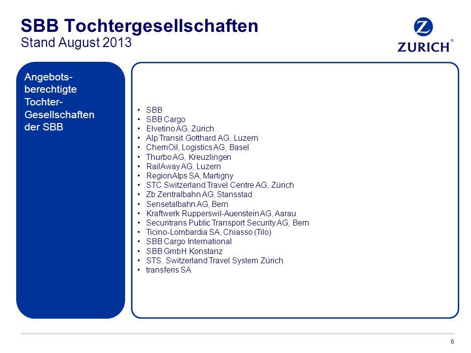 Gut zu wissen… 7 Bestehende Versicherungsverträge bei Zurich und Zurich Connect:  Mitarbeitende der SBB haben die Möglichkeit, den Rabatt bei bestehenden Versicherungs- verträgen per sofort einzuschliessen.