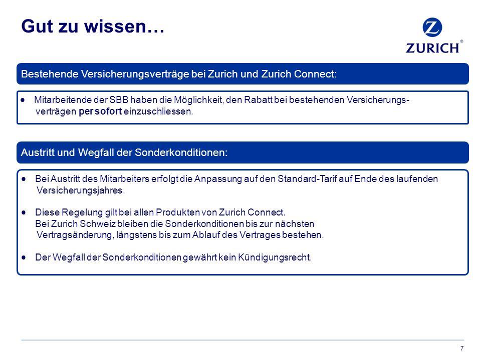 Zurich – Rundum ein starker Partner 8 Für weitere Informationen besuchen Sie uns auf: www.zurich.ch oder fragen Sie Ihren persönlichen Berater.