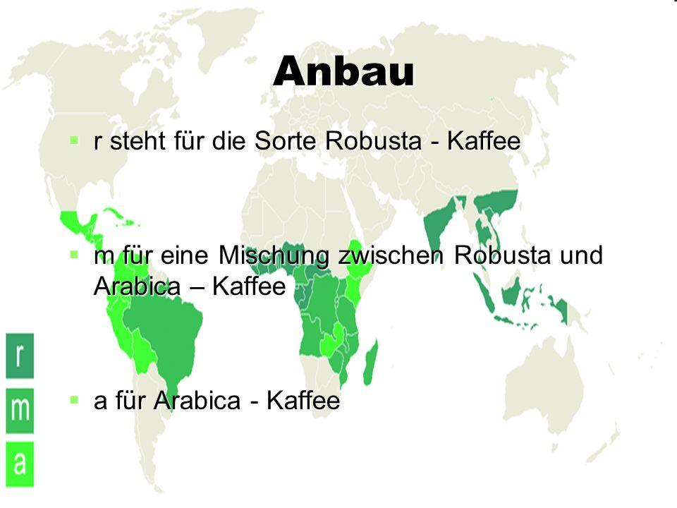 Anbau  r steht für die Sorte Robusta - Kaffee  m für eine Mischung zwischen Robusta und Arabica – Kaffee  a für Arabica - Kaffee