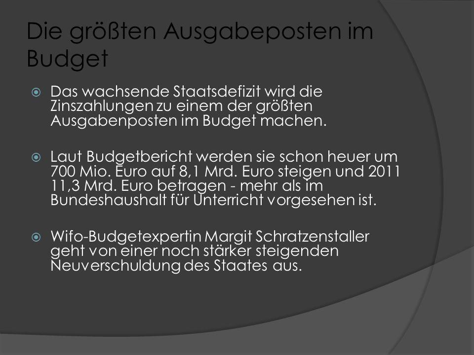 Die größten Ausgabeposten im Budget  Das wachsende Staatsdefizit wird die Zinszahlungen zu einem der größten Ausgabenposten im Budget machen.