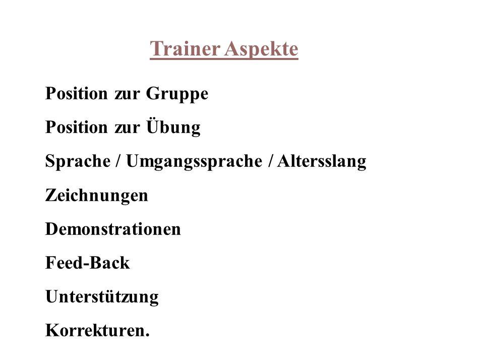 Trainer Aspekte Position zur Gruppe Position zur Übung Sprache / Umgangssprache / Altersslang Zeichnungen Demonstrationen Feed-Back Unterstützung Korrekturen.