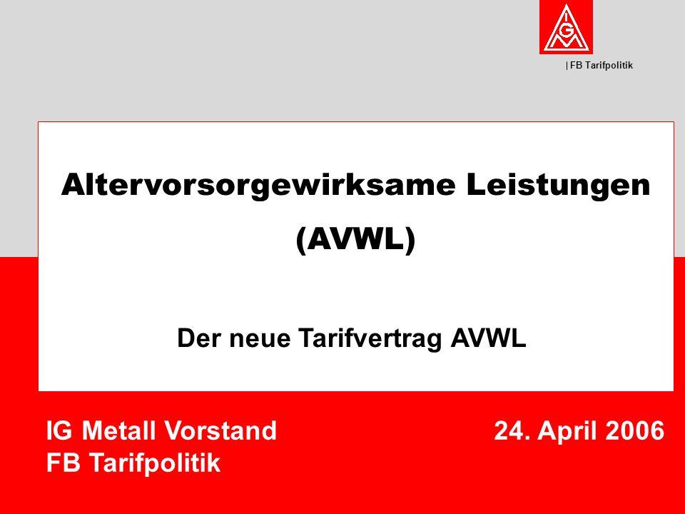 FB Tarifpolitik Altervorsorgewirksame Leistungen (AVWL) Der neue Tarifvertrag AVWL IG Metall Vorstand 24. April 2006 FB Tarifpolitik