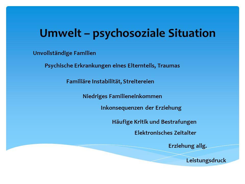Umwelt – psychosoziale Situation Unvollständige Familien Psychische Erkrankungen eines Elternteils, Traumas Familiäre Instabilität, Streitereien Niedr