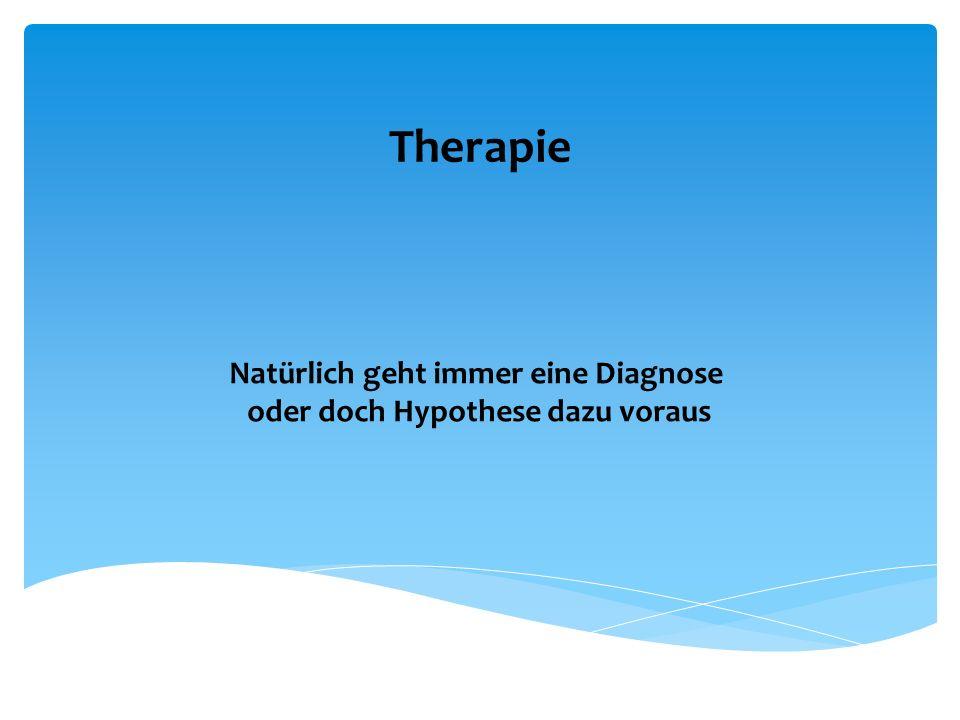 Therapie Natürlich geht immer eine Diagnose oder doch Hypothese dazu voraus
